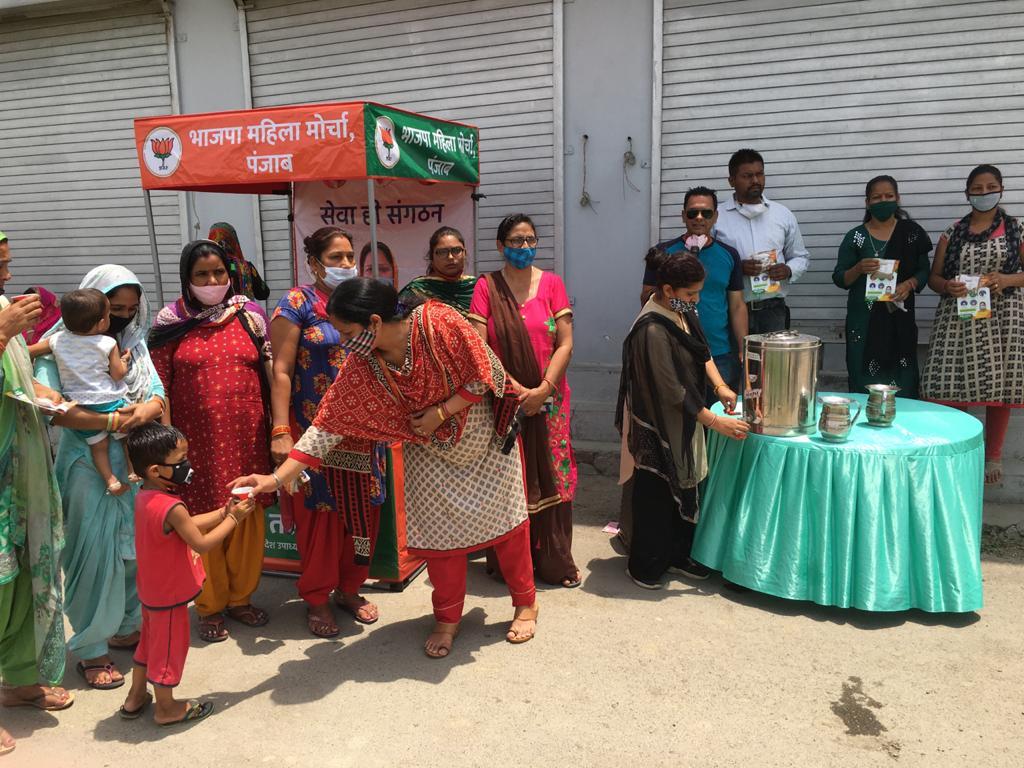 मोहल्ला कीरती नगर में आर्युवैदिक काढ़े वितरित करते हुए महिला मोर्चा पंजाब की प्रदेश उपाध्यक्ष नीति तलवाड़ व अन्य सदस्या।
